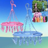 Random Color Plastic Clothes Socks Bra Drying Hanger Laundry Hanging Shelf With 18 Clips
