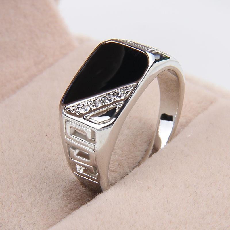Men Ring Crystal Rhinestone Rectangle Finger Ring | Alex NLD