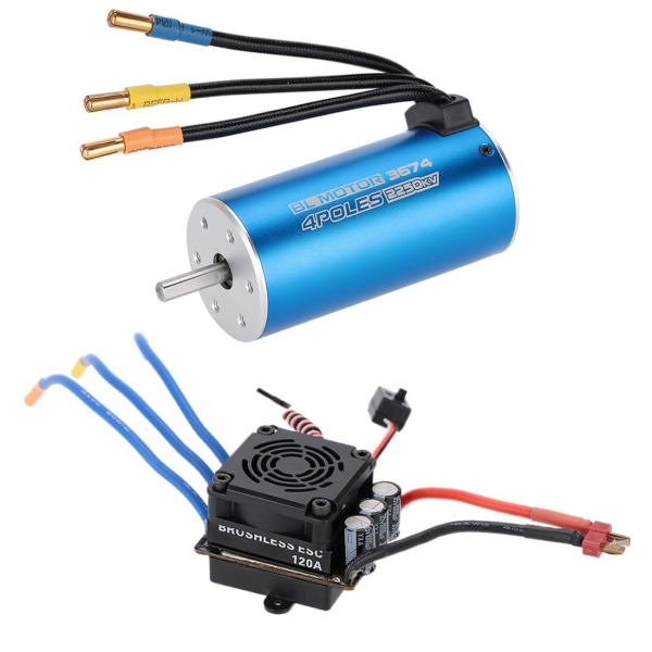 3674 2250KV 4P Sensorless Brushless Motor + 120A Brushless Splash-Proof  Electronic Speed Controller with 5 7V/8A Switch Mode BEC for 1/8 RC Car  Truck