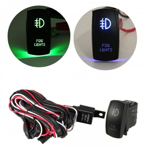 12V 40A LED Fog Light Wiring Harness Laser Rocker Switch Relay Fuse Kit