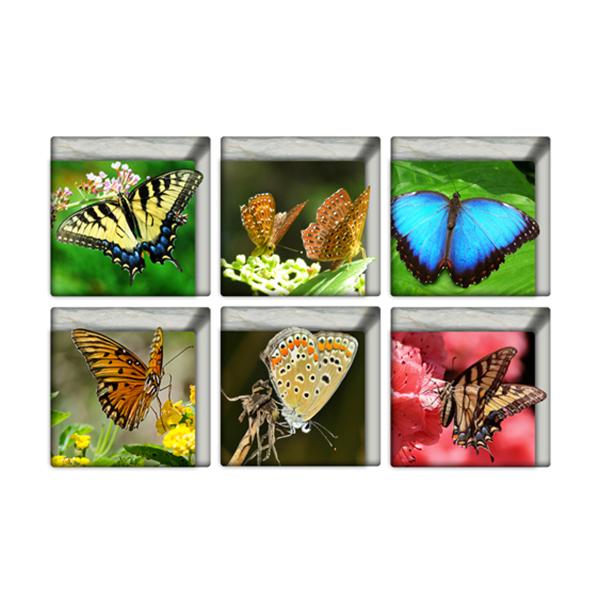 Pag 6pcs 13x13cm Butterfly Pattern 3d Anti Slip Waterproof