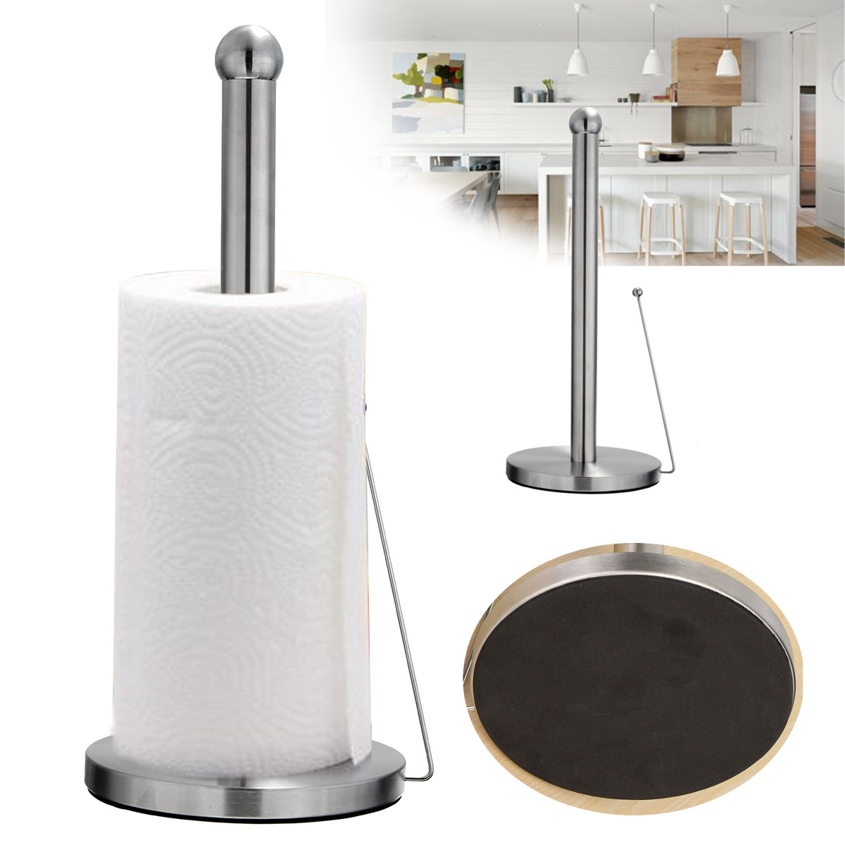 Freestanding Paper Towel Holder Hook Stainless Steel