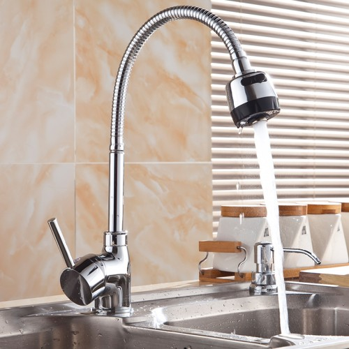Flexible Kitchen Faucet: Kitchen Faucet Solid Brass Pull Swivel Tap Flexible Hot