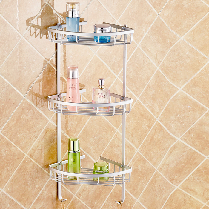 Aluminium Wall Mounted Bathroom Corner Shower Caddies Storage Shelf ...
