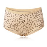 M-3XL Women Milk Silk Mid Waist Briefs Printing Panties