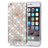 For iPhone 6 Plus & 6s Plus Agate & Diamond Encrusted Electroplating TPU Protective Back Cover Case (Silver)
