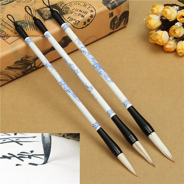 3pcs Brush Pen Blue And White Picture Chinese Japanese: chinese calligraphy pens