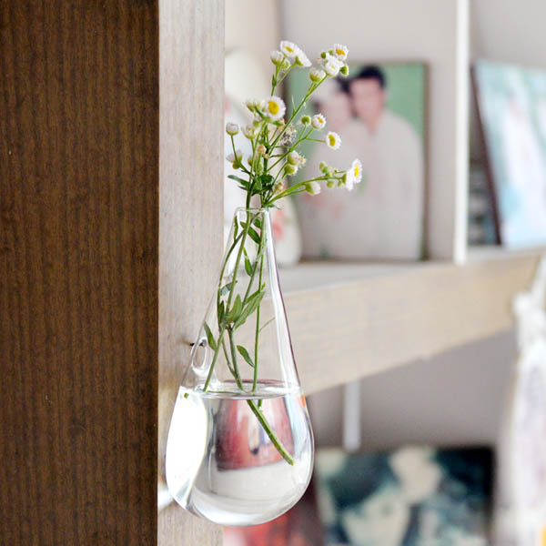 Wall Mounted Water Drop Shape Glass Vase Garden