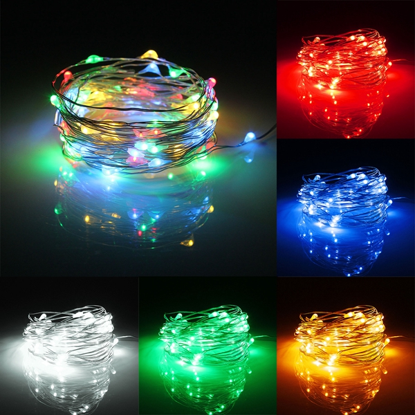 6m 60 Led Battery Operated Silver Wire Waterproof String