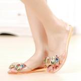 Women Summer Chic Beach Sandals Peep Toe Flat Rhinestone Shoes