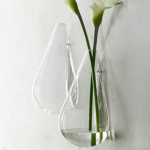 Wall Mounted Water Drop Shape Glass Vase Garden Hydroponice Plants