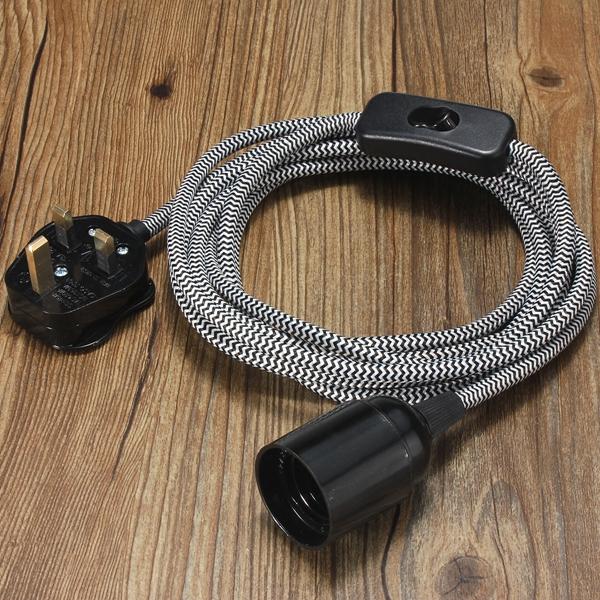 E27 4M Fabric Cable UK Plug In Pendant Lamp Light Set Fitting