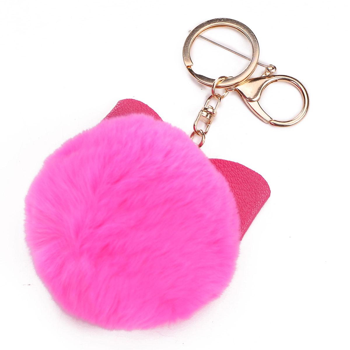 Bowknot Fur Ball Fluffy Elegant Handbag Charm Car Key Ring Keychain | Alexnld.com