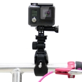 PULUZ Motorcycle Bicycle Handlebar Holder with Tripod Mount & Screw for GoPro HERO4 Session /4 /3+ /3 /2 /1 (Black)