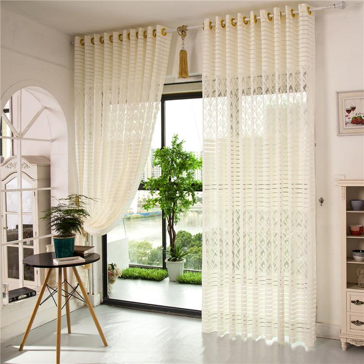 2 Panel Jacquard Lace Sheer Tulle Curtains Bedroom Living Room ...