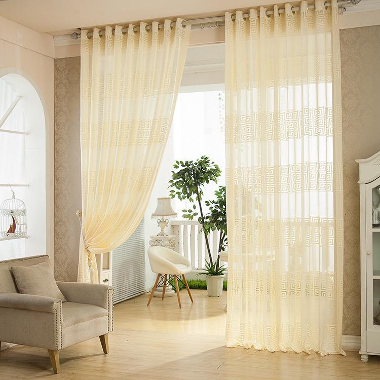 2 Panel European Style Jacquard Breathable Voile Sheer ...