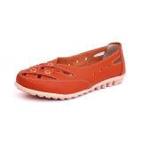 Women Summer Flat Casual Outdoor Hollow Out Leather Soft Comfortable Flat Loafers Shoes