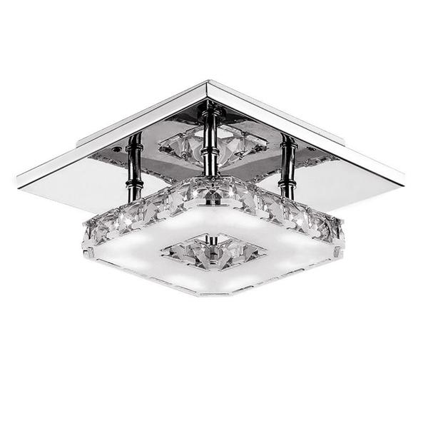 Modern led 12w crystal pendant light corridor stainless steel ceiling lamp fixture ac85 260v - Stainless steel kitchen pendant lighting ...
