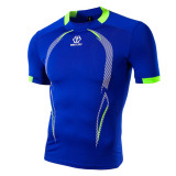 Mens Round Neck Short Sleeve Jersey Slim Quick-drying T-shirt Printed Sports Traning Tees
