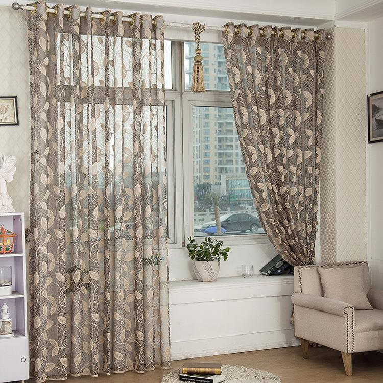 2 Panel Breathable Half Black Out Voile Sheer Curtains