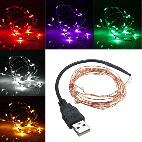 Led String Lights Usb : 2M 20 LED USB Copper Wire LED String Fairy Light for Christmas Xmas Party Decor Alex NLD