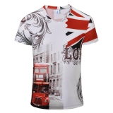Mens Fashion Color Printing Breathable Casual T-shirt V-collar Short Sleeved Top Tees