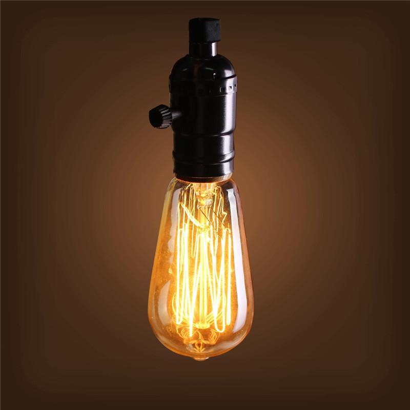 E27 40w Vintage Retro Filament Edison Tungsten Light Bulb: 40W E27 ST58 Edison Bulb Antique Filament Lamp Retro