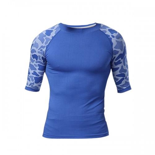 Men Compression Leopard Print Sports Tight Shirt Half Sleeve Quick Dry Body Shaper