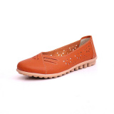 Women Summer Outdoor Comfortable Soft Casual Leather Hollow Out Flat Loafers Shoes