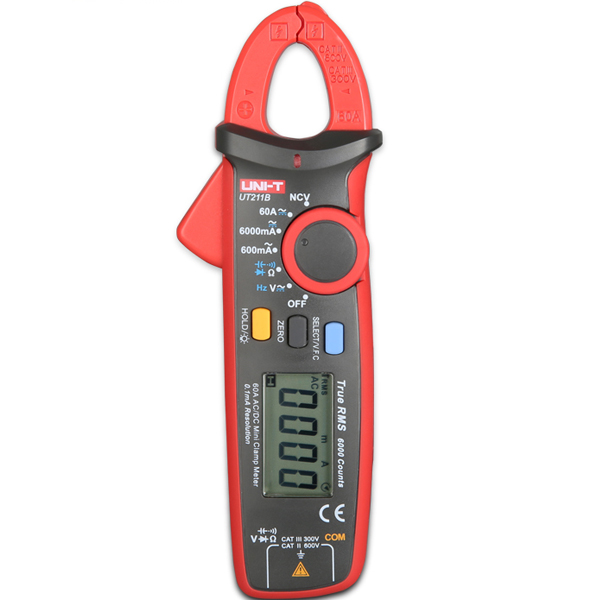 uni t ut211b multifunction 6000 count true rms mini clamp meter multimeter with v f c ncv test. Black Bedroom Furniture Sets. Home Design Ideas