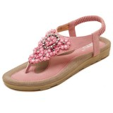US Size 5-10 Summer Women Diamond Bohemian Casual Outdoor Beach Flower Fashion Soft Flat Sandals