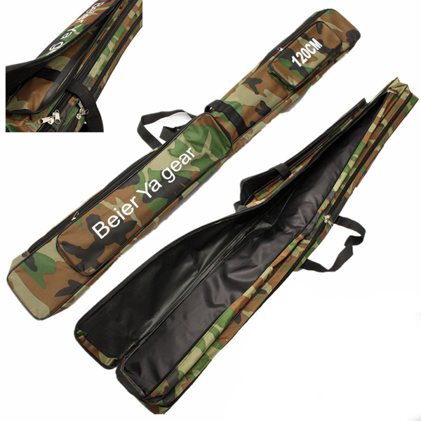 120cm camouflage carp fishing rod tackle bag case padded for Golf cart fishing rod holder