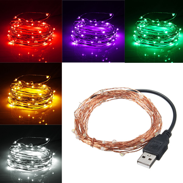 String Lights Usb : 5M 50 LED USB Copper Wire LED String Fairy Light for Christmas Xmas Party Decor Alex NLD