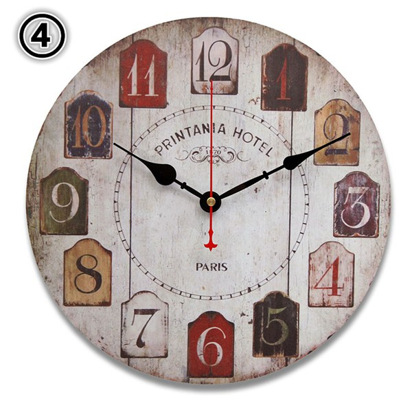 Round Vintage Rustic Wooden Wall Clock Quartz Movement