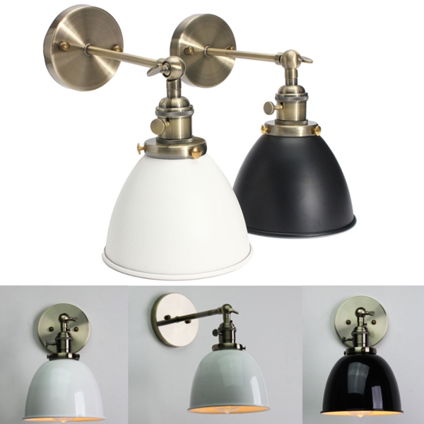 e27 vintage antique industrial bowl sconce loft rustic stair wall lamp light fixture alex nld. Black Bedroom Furniture Sets. Home Design Ideas