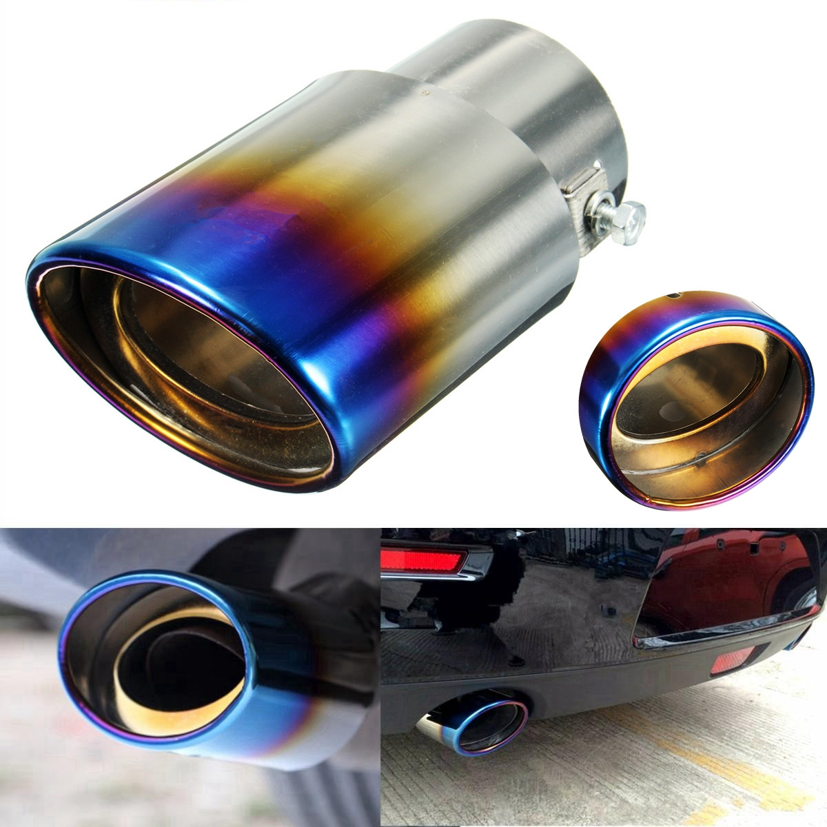 2 5 Grilled Blue Chrome Stainless Steel Exhaust Muffler