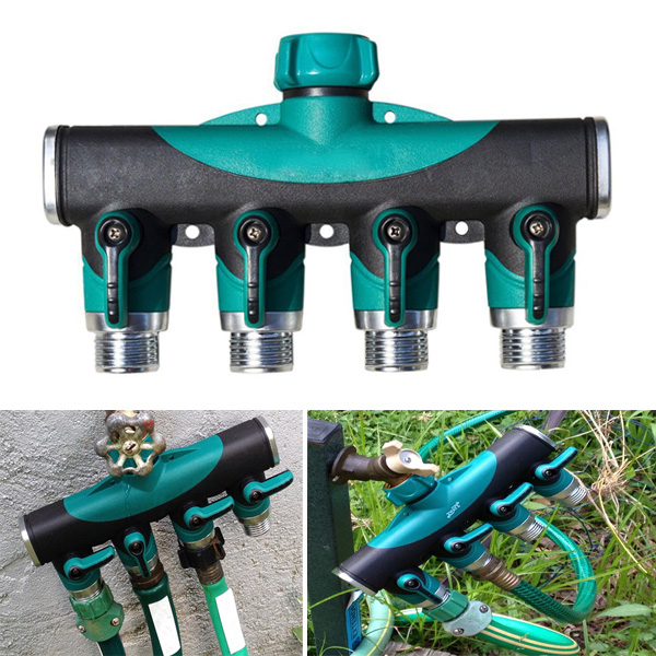 3 4 Inch Garden Hose 4 Way Splitter Water Pipe Faucet Shut
