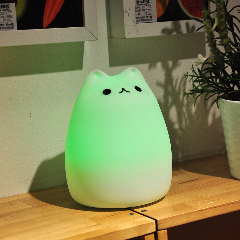Squishy Cat Night Light : Rechargeable Color Changeable Silicone LED Sensitive Tap Control Night Light for Home Alex NLD