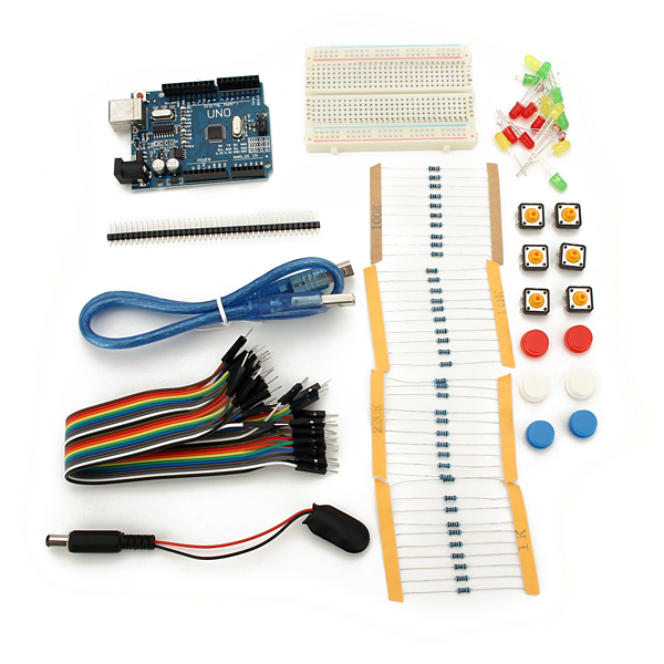 Uno r with mini breadboard led jumper resistor kit for