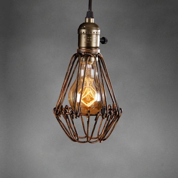 Ceiling Light Bulb Guard : Vintage pendant trouble light bulb guard cage ceiling