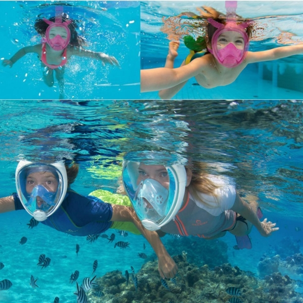 NEOPine Kids Diving Equipment Full Face Free Breathing Design Diving Mask for GoPro HERO4 /3+ /3 /2 /1 (Pink)