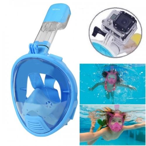 NEOPine Kids Diving Equipment Full Face Free Breathing Design Diving Mask for GoPro HERO4 /3+ /3 /2 /1 (Blue)