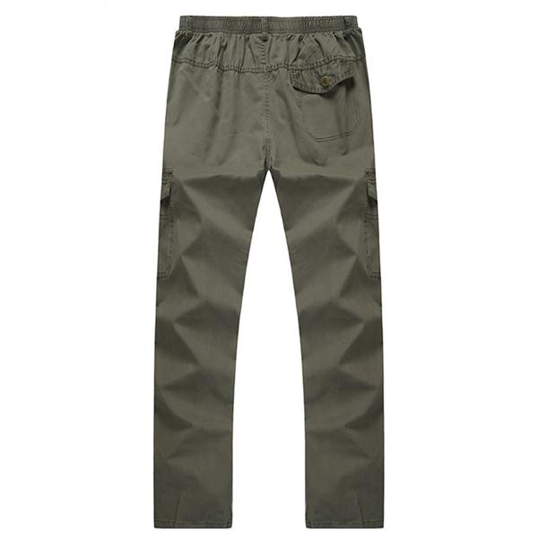 Mens Elastic Waist Multi-pocket Solid Color Casual Cotton Summer Plus Big Size Pants