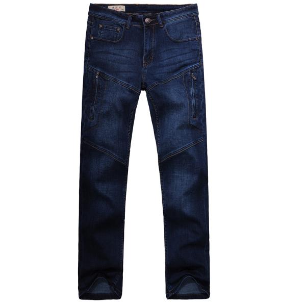 Men Casual Summer Autumn Plus Size Multi-pocket Loose Straight-leg Cotton Denim Pants
