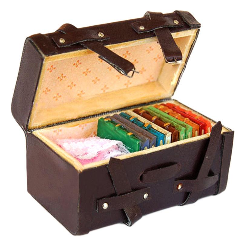 Very best 1:12 Dollhouse Miniature Vintage Leather Wood Suitcase Mini  UQ85