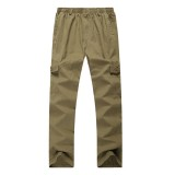 Mens Elastic Waist Multi-pocket Solid Color Casual Cotton Summer Plus Big Size Pants