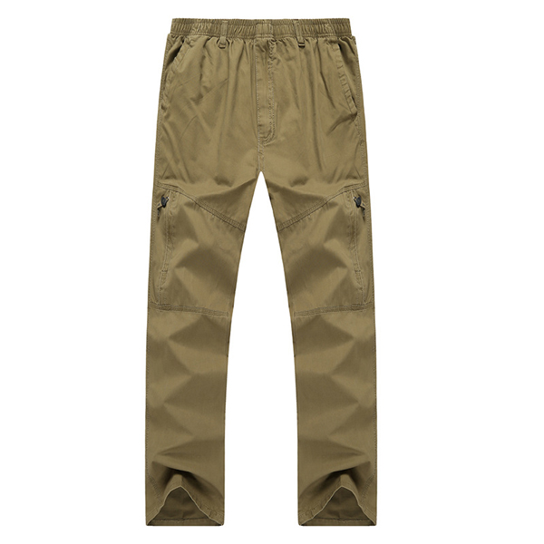 Mens Casual Straight Leg Loose Trousers Solid Color Elastic Waist Multi-pocket Pants