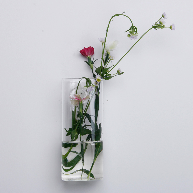 Wall Mounted Long Tube Shaped Glass Flower Vase Home