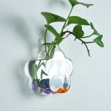 Wall-mounted Flower Shaped Glass Flower Vase Home Garden Wedding Party Decoration