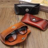 Vintage Handmade Real Leather Cowhide Glasses Case Causal Eyeglasses Box Bag